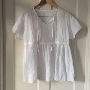 Tops - White cotton babydoll cut top L